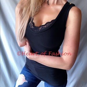 Black Lace Trim Deep V-Neck Sleeveless Top Tank